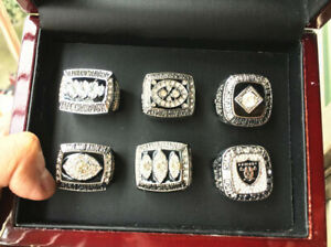 6pcs Oakland Raiders Football Team Ring Set With Wooden Box Souvenir Fan Gift