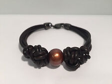 Bracelet Leather + Pearl Colour Chocolate - Leather & Brown Pearl Bracelet