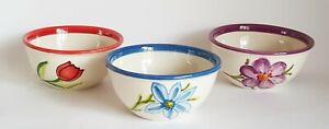 Set of 3 Spanish Ceramic Bowls 13 cm diam.