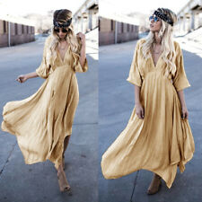 Women Sexy Hippie Boho Casual V Neck Half Sleeve Loose Kimono Long Maxi Dress