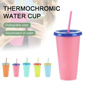 1/5pcs Color Changing Tumblers Lids Straws 24oz Reusable Cold Drink Cups Gift