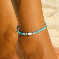 Women Natural Stone Anklet Pentagram Anklets Summer Ankle Bracelet Foot Jewelry