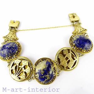 Antik Armband Silber Gold Plated & Lapislazuli, Bracelet Art Deco 1920-1930 💋