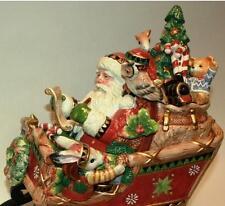 Fitz & and Floyd CHRISTMAS LODGE Santa Sleigh COOKIE JAR Centerpiece Animals NIB