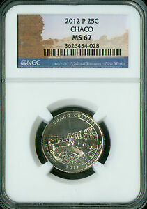 2012-P CHACO CULTURE PARKS QUARTER NGC MS67 2nd FINEST REGISTRY MAC SPOTLESS *