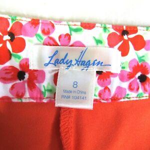 Lady Hagen Skort Size 8 Golf Tennis Sports PLEATED Flap Pockets Short Orange