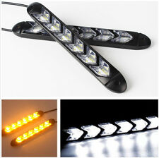 1 Pair Car DRL Turn Signal White/Amber Switchback Arrow Flowing LED Strip Light