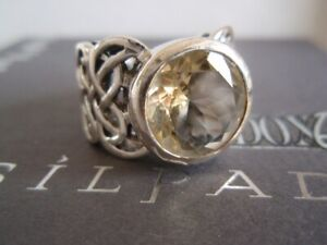 SILPADA RARE RETIRED Sterling Silver 925 Faceted Citrine Celtic Ring Sz 6 R1425