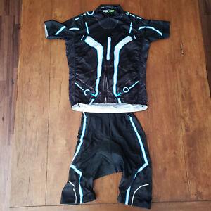 Mens 2XL Cycling Jersey and Bibshort Black White Blue XXL Wulibike