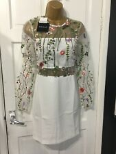 PARISIAN white lace embroidered dress pencil style dress size 8 new in packet