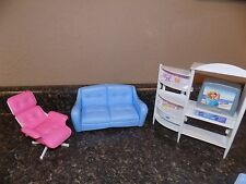 Barbie Furniture 1998 couch reclining chair and tv entertainment  living room