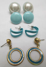 Vintage Pierced Earrings Lot of 4 Pairs Teal Green Blue Hoop Metal Plastic