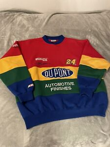 NASCAR Jeff Gordon Vintage Sweathirt XL DuPont Racing Chase 24 Colorblock