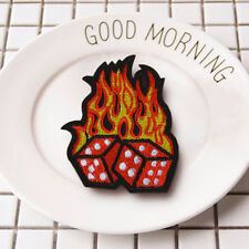 Dice Flame Embroidered Sew On Iron On Patch Clothes Badge Fabric Craft Transfer