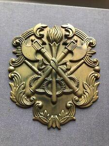 A BRASS METAL Fireman's BRASS Helmet Plate/ badge.