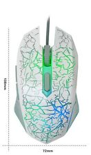 USB Wired Gaming Mouse with 7 Illumination LED 2400cpi 6button Quiet Click White
