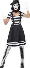 Lady Mime Artist Costume, Black, Dress, Collar, Beret, Gloves, Tigh.. COST-W NEW