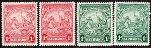Barbados 1938 part set multi-script CA mint SG249/249a/249b/249c (4)