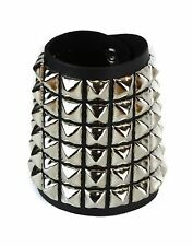 Six Row Nickle Pyramid Stud Premium Leather Punk Goth Rock Bracelet Wrist Cuff