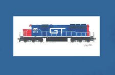 """Grand Trunk Western SD40 #5914 11""""x17"""" Matted Print Andy Fletcher signed"""