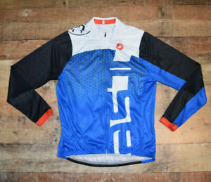 Castelli Bicycling Cycling Jacket Size Large Spellout Men Full Zip Long Sleeve