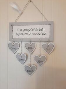 PERSONALISED FAMILY FRIEND GIFT PLAQUE WOODEN HANGING HEART SIGN GREY