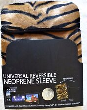 HYPE Animal Print NEOPRENE Reversible SLEEVE FOR TABLETS NOTEBOOKS UP TO 10.1""
