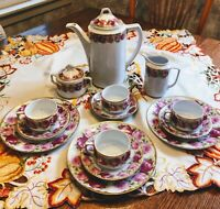 EARLY FRAUREUTH GERMANY PORCELAIN WHITE FLORAL ROSES COFFEE POT SET CUP SAUCER +