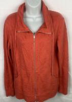 Tommy Bahama Women's Orange Full Zip Long Sleeve Jacket Size Small Pockets NWOT