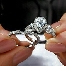 Pear Cut Diamond Engagement Bridal Ring Set 14K White Gold Finish 2.50Ct Size 7