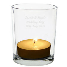 Personalised Any Message Tealigh Votive Candle Holder Birthday Wedding Christmas