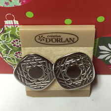D'ORLAN VINTAGE SILVER DIAMOND SCULPTED CLIP EARRINGS