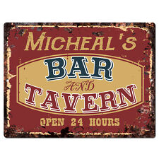 PPBT0147 MICHEAL'S BAR and TAVERN Rustic Tin Chic Sign Home Store Decor Gift
