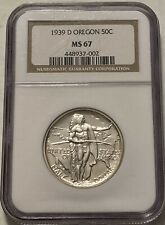 1939-D Oregon Trail Silver Commemorative Half Dollar - NGC MS67 - Blast White