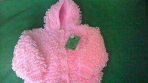 Hand-knitted  Baby's  pink  loopy  with hood Cardigan  size 20 inch chest