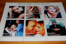 Movie Stars Of The Decade Somaliland 1999 Stamp Sheet MNH Ford Cruise Cage etc.