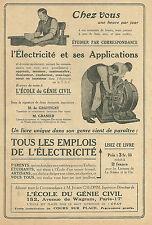 Publicité Tous les emplois de l'électricité Ecole du génie civil 1927 réclame