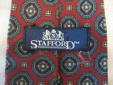 MEN'S NECKTIE BY STAFFORD, BURGUNDY/GREEN/NAVY BLUE