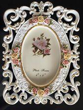 """Adorno Asia Antiguo Pintado A Mano Flores 4"""" x 6"""" Resina Marco Fotos 10,"""