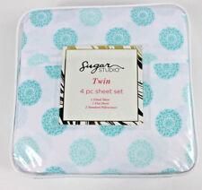 Sugar Studio 4 pc Twin Sheet Set Aqua Medallion White New Girls