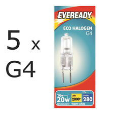 5 x Eveready G4 Eco 20W Halogen Capsule Bulb 280 Lumens 12V Lamp Warm White