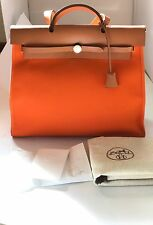 HERMES Orange and Camel Toile Herbag Zip 39