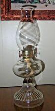 Antique Vintage Pressed Clear Glass Ribbed Oil Lamp Complete Chimney & Burner