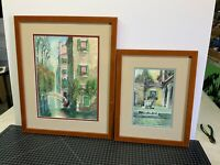 Pair Of Vintage Watercolor Prints Signed Venice European Canal Scenes Framed