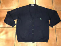VTG 80s Women's BURBERRYS Cardigan Sweater Navy Wool Scotland Button Up Sz 12