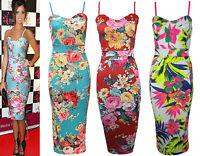 Womens Green Neon Floral Print Bodycon Strappy Bralet Midi Dress Plus size 8-26