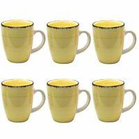 6 Tassen Kaffeebecher groß Kaffeetasse Kaffeetassen Set Becher Kaffeepott gelb