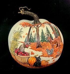Faux Pumpkin AUTUMN PAINTING Cat FERRET Squirrel DEER Chipmunk ORG Art by Stef