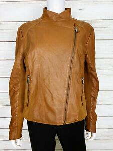 Marc New York Andrew Marc Womens Leather Jacket Size XL Brown Lined Full Zip