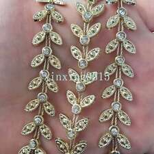 NEW 1 Yard Gold bottom leaves rhinestone Chain Sewing Lace Trims Crafts Wedding